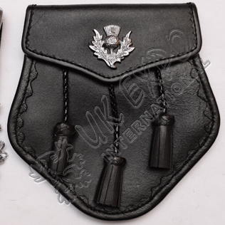 Black Leather Sporran With Scottish Thistle Badge