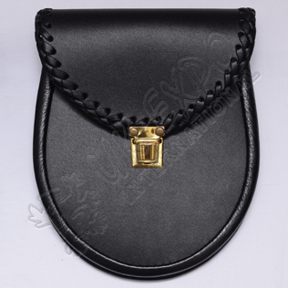 Black Leather Sporrasn with Edge Corner Leather Braiding with Sprin Buckle Closing