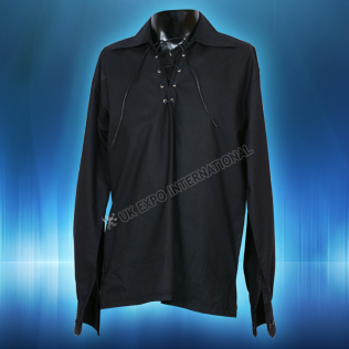 Black Mens Scottish Highland Jacobite Shirts Jacobean Ghillie