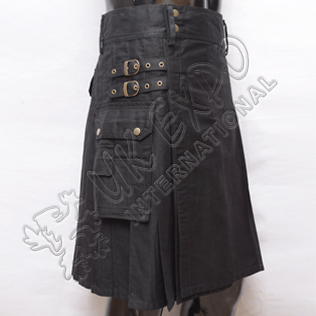 Modern Black Utility Kilt With 2 strap and adjustable brass snaps