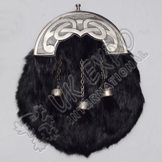 Black Rabbic Fur sporran