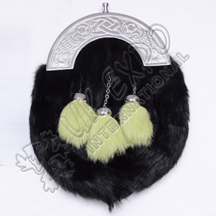 Black Rabbit fur and green Fur Tessels with dual Celtic bird  and knots Cantle
