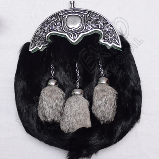 Black Rabbit Fur with Multi Gray Color Tessels Green Backing