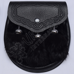 Black Rabbit fur with Real Black Leather Semi Dress Sporran