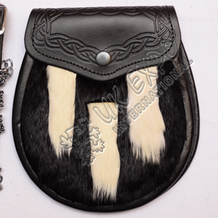 Black rabbit fur with White Fix fur tessle shap Front Embossed