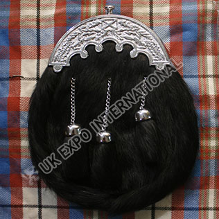 Black Real Seal Skin Sporran with Scottish Cantle