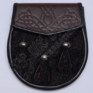 Black Seal Skin with Brown leather Semi Dress Sporran