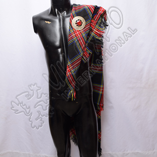 Black Stewart Tartan Drummer and Pipers Fly Plaids