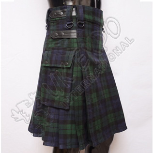 Black Watch Tartan 4 Leather Straps Utility Kilts with Black Color snaps closing