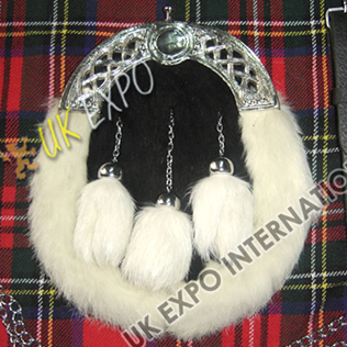 Black White Rabbit Fur Sporran
