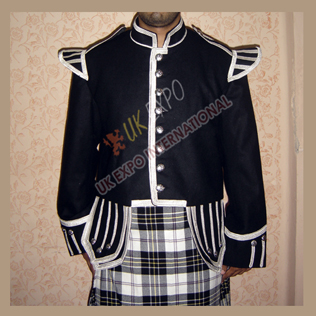 Black Wool Highland Doublet with Silver Braided