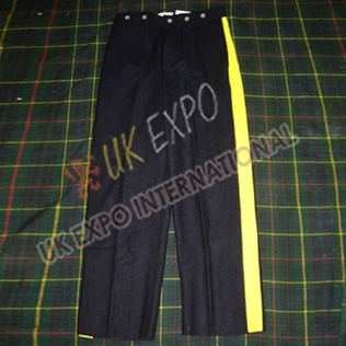 Black Wool Trouser with Yellow Strip
