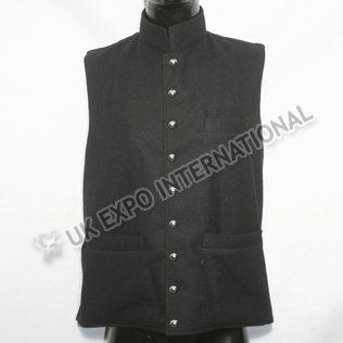 Black Wool Vest With three Pockets