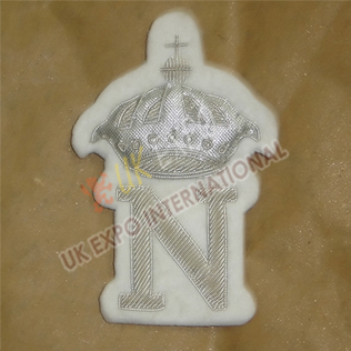 Blazer Badge Hand Embroidery silver bullion
