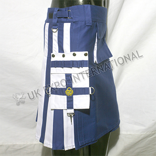 Blue and White color Pc Utility Kilt