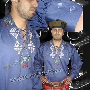 Blue Jacobite Shirt wit Scottish Flower Hand Embroidery