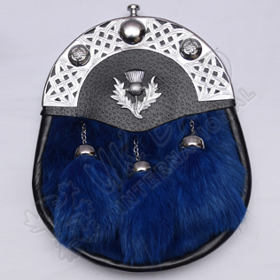 Blue Rabbit Fur with Celtic Cantle