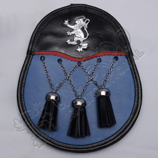 Blue Rampart lion Day Wear Sporran With Three Cross Tassels