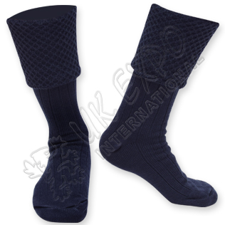 Diamond Cuff Men Dark Blue Scottish Highland Wear Kilt Hose Socks