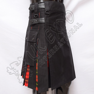 Hybrid Decent Black and Wallace Modern Tartan Box Pleat Utility Kilt Attached pockets