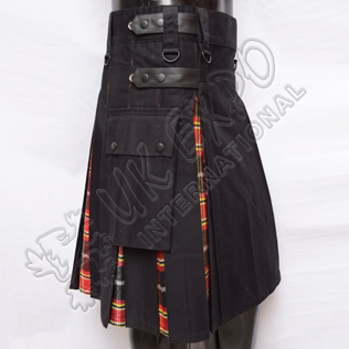 Hybrid Decent Black and Red-Black Tartan Box Pleat Utility Kilt Attached pockets