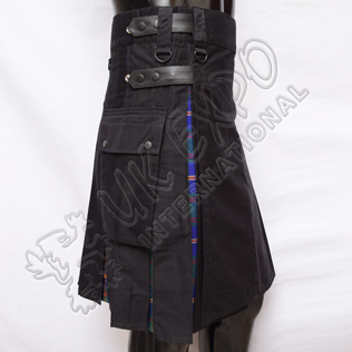 Hybrid Decent Black and U.S Marine Tartan Box Pleat Utility Kilt Attached pockets