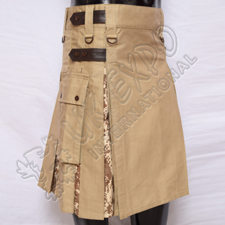 Hybrid Decent Khaki and Digital Camouflage Box Pleat Utility Kilt Attached pockets