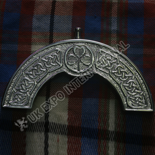 Brass chromed Shamrock with celtic knot Cantle