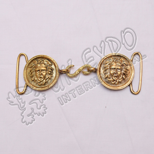 Brass moon shape buckle with snake hook