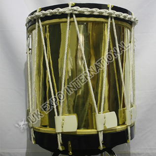 Brass Polish Drum with Dark Brown Rim