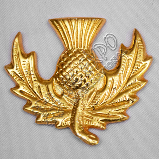 Brass Thistle Metal Badge