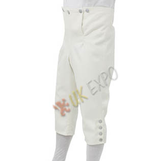 Breeches White color heavy COtton Jean with pweter Button
