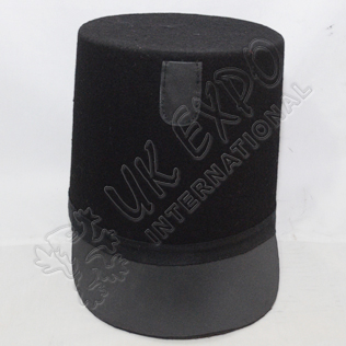 British Shako Hat Plain Leather Brim Black Braid Around The Hat