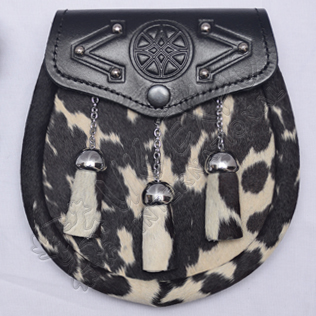 Brown,Black and White cow skin Sporran with tessles Celtic Embossed on Flap