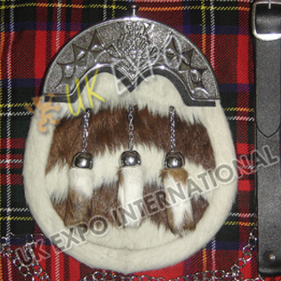 Brown and White Goat Skin combination and Scottish Thistle Cantle