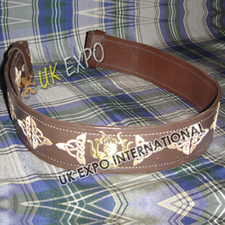 Brown Belt with Skin Color Embroidery Golden thistle with Brown Backing