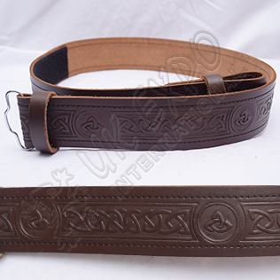 Brown Celtic Design Belt with Scottish Celtic Embossed real leather belt