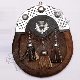 Seal Skin Brown Sporran with Thistle Badge on leather Backing