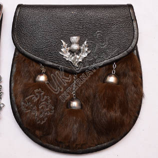 Brown Color Rabbit Fur Leather Sporran