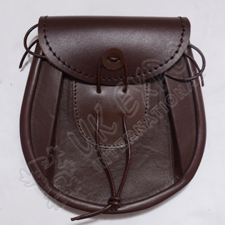 Brown Color Two-Tone Sporran Leather Embossed
