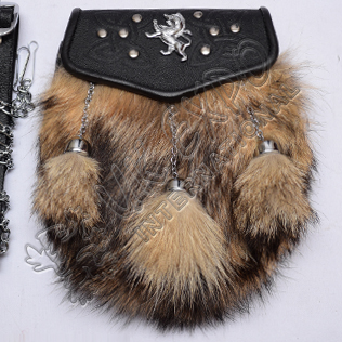Brown Fox fur with Rampart lion on celtic embossed Semi Dress Sporrans