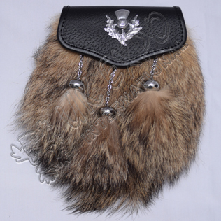 Brown Fox fur with Thistle on Celtic embossed Semi Dress Sporrans