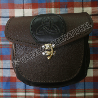 Brown Grain leather with Black Celtic embossed with Brass Lock Sporran