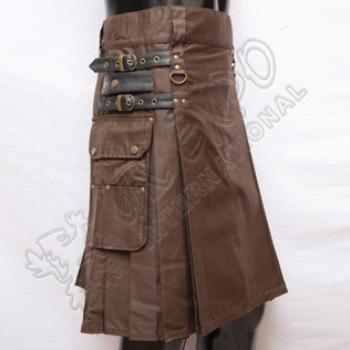 Heavy Duty Brown Utility Kilts with 4 closing Straps