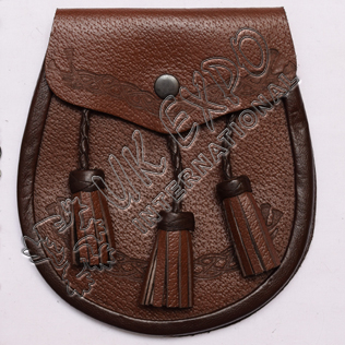 Brown Leather Embossed Sporran