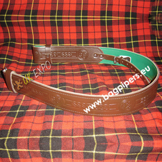 Brown Leather Kilt Belt Embossed Green Backing