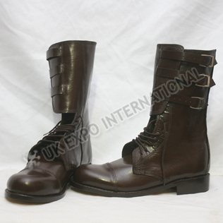 Brown leather Military Long boot