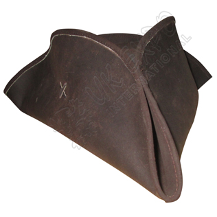 Brown Leather Tricorn Medieval Pirate Hat