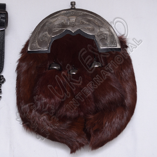Brown Rabbit Fur Full Dress Sporrans Scottish Celtic Design Cantle Shiny Antique