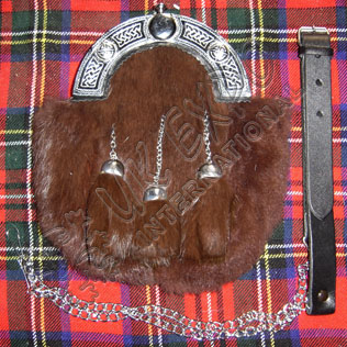 Brown Rabbit Furr with Brown tessels with Celtic cantle